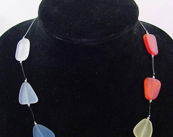 20% OFF Tumbled Sea glass  beach 8 chakra stone  necklace   2989D