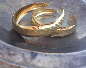 Vintage Hoop Earrings Big Hoop Earrings Gold Hoop Earrings Wide Hoop Earrings Vintage Earrings Vintage Jewelry Antique Jewelry