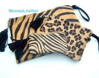 Cowhide hair on hide pony hair clutch wallet purse monogrammed