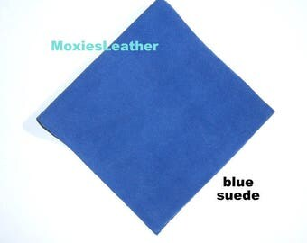 real leather blue suede - leather embelishment  - genuine suede fabric -