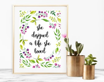 She Designed a Life She Loved Quote Printable Download Purple Florals - 8 x 10 inches