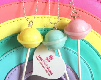 Rock candy colored lollipop