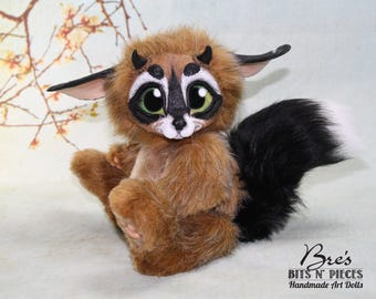 RESERVED 2nd PAYMENT: Fantasy Creature Art Doll Lemur Raccoon Squirrel Fox