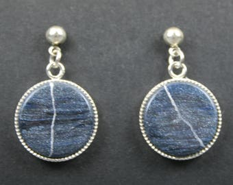 CLEARANCE SALE - Kintsugi (kintsukuroi) swirled dark blue and black round earrings with silver repair hanging from silver ball posts - OOAK