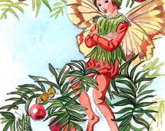 ACEO Limited Edition 1/25- Yew tree flower fairy inspired by Cicely Mary Barker, Art print of original watercolor, Wild flowers
