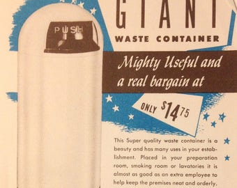 Industrial Trash Can Advertising Mid-Century Kitsch R2D2  1950s Rare Beauty