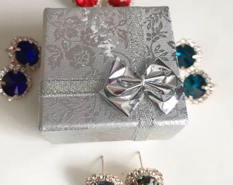 Rose Gold Crystal Stud earrings - Rose Gold Plated,  Stud earrings crystal rhinestones, Rosegold earrings, Rosegold Stud earrings, Jewelry