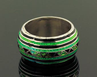 Enamel Ring // 925 Sterling Silver // Ring Size 7 // Handmade Jewelry