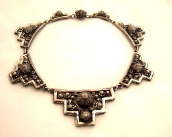 Etruscan Style Necklace Ornate Silver Embossed Vintage Jewelry Statement Necklace Choker Rare Collectible Signed Etrusceana Gift For Her