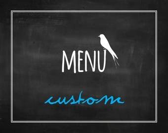 Custom Printable Wedding Menu - Event Menu - Dinner Menu - Custom Wedding Stationery