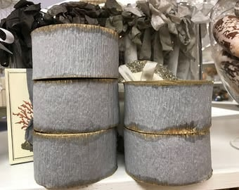 Crepe Paper Roll Party Decor Vintage Stock Easter Wedding Christmas Gray Grey Gold Gilt Marie Antoinette (Small Roll)