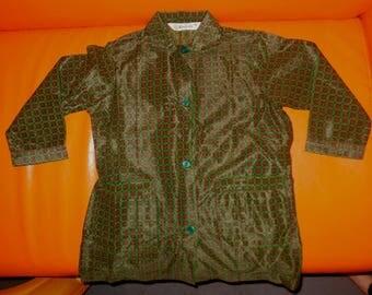 DEADSTOCK Vintage Child's Smock 1960s 70s Green Nylon Smock Unworn Girls XS Women's Button Front Dress NWOT Kempotex sz 60