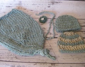 Baby Photo Prop Seafoam green cocoon baby sack with 2 matching hats and a headband and a clip on shabby flower