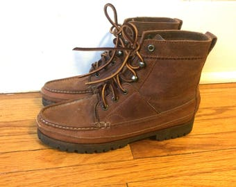 Vintage 90s Hiking Boots Ralph Lauren Polo Trail Hi Top Boots Leather Mocassin Toe Womens Size 8 snug, or 7.5 with room