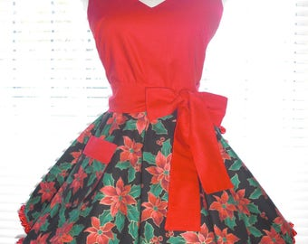 Holiday Apron, Retro Apron, Red Poinsettias on Black, Trimmed with Red Ruffled Ribbon Circular Flirty Skirt