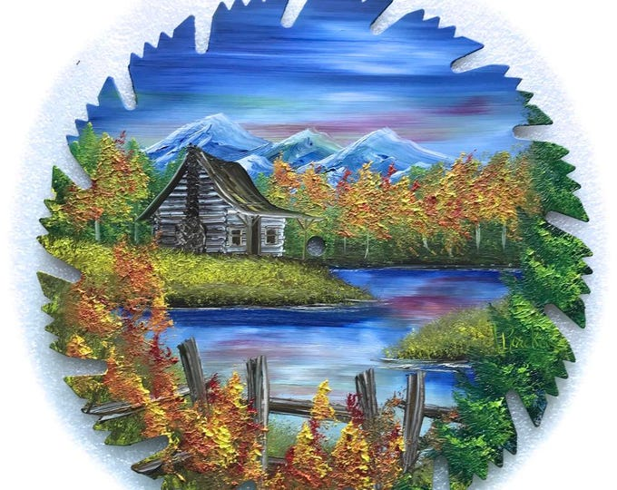 Hand Painted Saw Blade Mountain Scenery with Log Cabin w Fence Fall