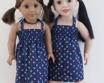 Navy Blue Stretchy Bodice Summer Halter Dress Doll Clothes for 18 inch dolls to 20 inch dolls such as American Girl & Australian Girl dolls