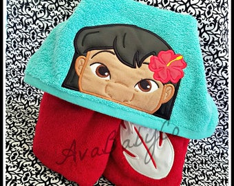 Embroidered Lilo and Stitch Inspired Hooded Towel Personalized