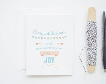 New Baby - Banner & Rattle Congratulations - Blank Greeting Card