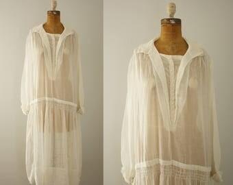 1920s dress   vintage 20s white cotton day dress