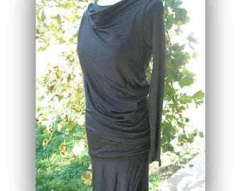 SALE Stunning black sparkle gown, 'Barney Cheng' boutique designer, NWT, draped waist, high slit, body conscious, size sm, Greece