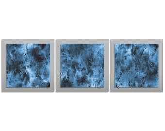 Blue/Black Masculine/Minimalist Art 'Storm Essence' - 38x12 in. - Ultra-Modern Painting on Layered Metal Art Panels