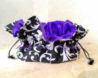 Travel Jewelry Organizer / Bride / Bridesmaids Gifts **Ready To Ship**  Black and White Design with Purple Bridal Satin