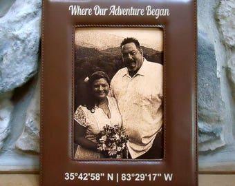 Laserable Photo Frame, Leatherette Photo Frame, Coordinates Frame, Laser Engraved Photo Frame, Brown Frame, Black Frame