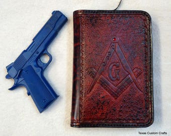 IN STOCK Concealed Handgun Leather Pistol Case with Hand Tooled Mason Symbol and State of Texas Pattern