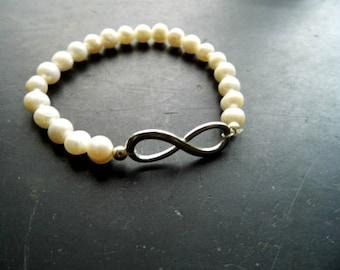 bracelet, pearl, symbol bracelet, infinity, protection, bride
