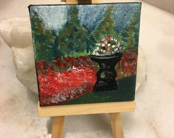 """Original Handmade Small Art with Easel; 2.5"""" Square Mini Canvas with an Acrylic Garden/Flower/Peaceful Setting- in Red, Green, and Black"""
