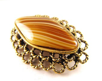Original by Robert Brooch Gorgeous Art Glass Cab Antiqued Gold Tone Rope Style Mount Porfyr Glass
