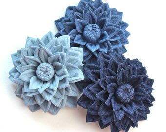 Cotton wedding gift, denim jewelry, cotton flower, denim flower, cotton gift idea, dahlia flower, cotton brooch gift for her