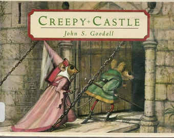 Creepy Castle, John Goodall book, wordless picture book, medieval castle, mouse book, mice book, vintage mice, vintage mouse, haunted castle