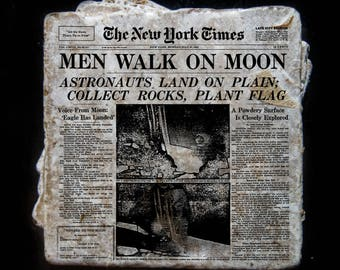 Moon Landing news story coaster set. **Ask for free gift wrapping and have them sent directly to the recipient!**