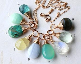 Gemstone Pendant Charm Necklace Goldfilled wire wrap dainty petite blue topaz opal heliodor agate chalcedony moonstone fluorite labradorite