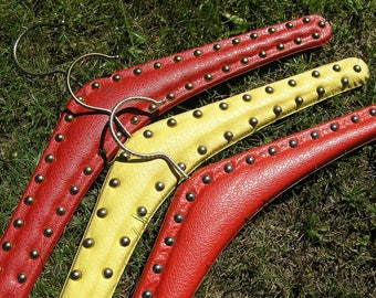3 Faux LeatherClothes Hangers with metal studs in red and yellow, Vintage Mid Century Studded Coat Hanger Set, Stud Clothes Hangers Set