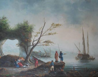 vintage oil painting of old time marine scene people boats sea signed