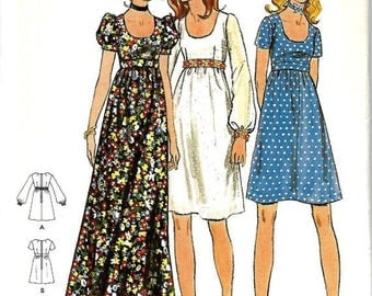 ON SALE Butterick 6175 Junior & Junior Petite Size5, Bust 30,  Empire Waist Dress Pattern, UNCUT