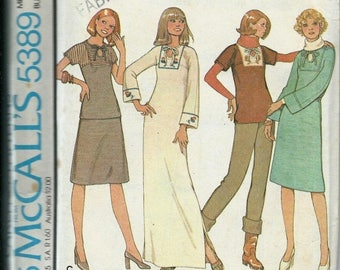 ON SALE McCall's 5389 Carefree Dress or Top and Skirt Pattern, VTG 70's, Size 14 Uncut