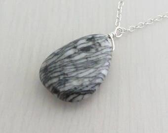 Black Spider Web Jasper Sterling Silver Necklace, Black Gemstone Pendant, Pear Shaped Pendant, Sales Clearance