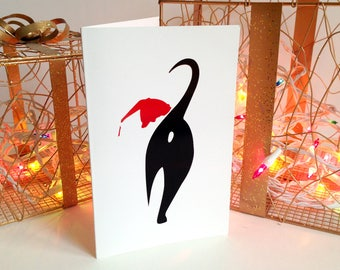 Cute Cat Butt Christmas Greeting Card