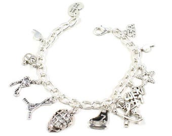 Hockey Bracelet Hockey Player Charm  Hockey Mask Protector Charms Love Hockey Gift Ladies Hockey Gift  Hockey Charm Sports Gift B187