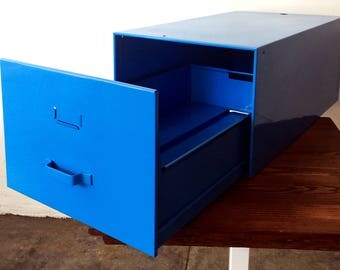 Mid-Century Industrial File Drawer, Refinished in Blue