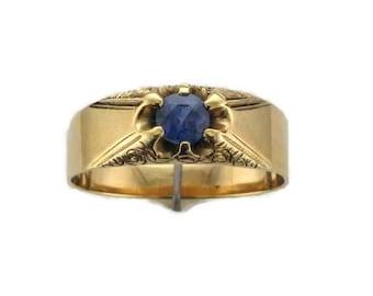 14 Karat Yellow Gold Blue Sapphire Embossed Belcher Ring, Blue Sapphire Ring, Antique Sapphire Ring, September Birthstone Ring