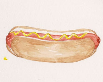 Hot Dog Watercolor Print, Picnic Food Painting, Summer Sandwich Art, Kitchen Dining Decor, Barbecue Grilled Wiener on Roll with Mustard