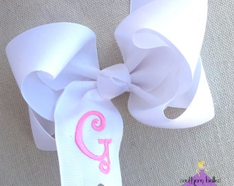 White Bow with Initial Letter, Personalized Hair Bow, Big White Bow, Big Boutique Bow, Personalized Gift for Girl, Stocking Stuffer