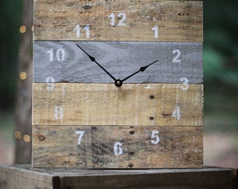 ORIGINAL Reclaimed Pallet Wood Wall Clock (Functional Grey)