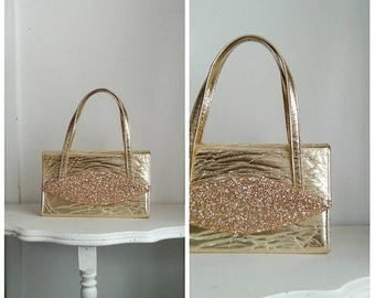 20% OFF / The Gold Mine 1950s Metallic/Shiny Gold Handbag with Chunky/Gold Glitter Detail