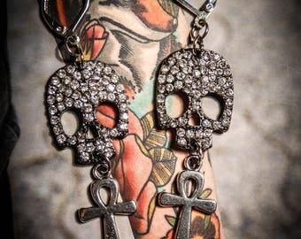 """Earrings """"rhinestones Boho Chic Egyptian ankh ☥ Pirate Skull ☥"""